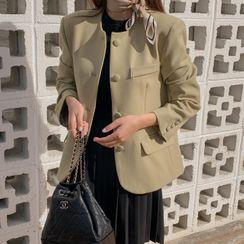 CHERRYKOKO - Collarless Button-Down Jacket