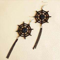 Fit-to-Kill - 皮革蜘蛛網個性水晶耳環