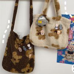 Anchara - 小熊印花绒质手提袋