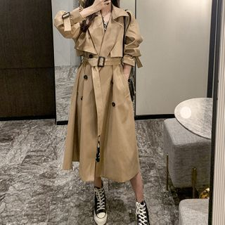 Antoinine - Double Breasted Long Trench Coat