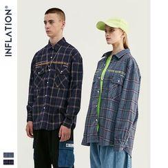 Newin - 格纹宽松长袖衬衫