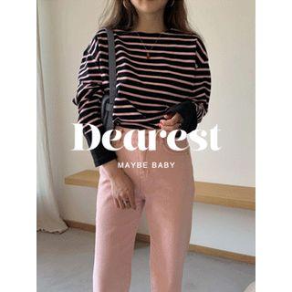 maybe-baby - Round-Neck Striped T-Shirt
