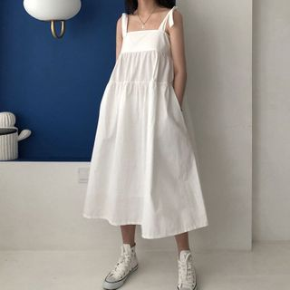 Melon Juice - Tie-Shoulder Midi A-Line Dress