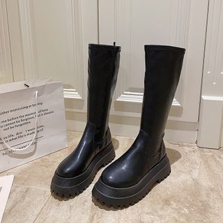 Hipsole - Platform Faux Leather Mid-calf Boots