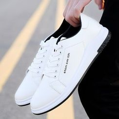 Viffara - Lettering Faux Leather Sneakers