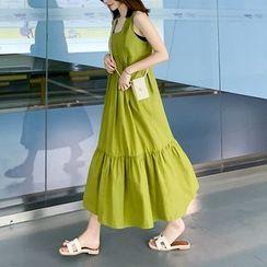 Bornite - Square-Neck Sleeveless Midi Babydoll Dress