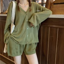 Rorah - Plain Cardigan / Shorts