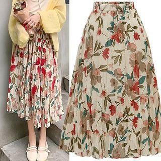 VIZZI - Flower Print A-Line Midi Chiffon Skirt