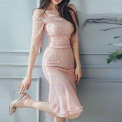 Aurora - Cold-Shoulder Lace Panel Ruffle Hem Bodycon Dress