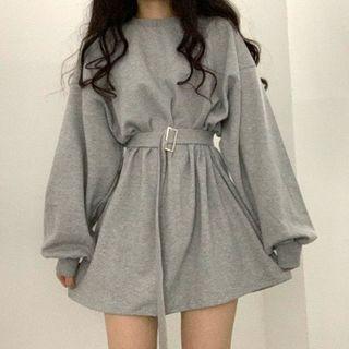Muzly - Belted Mini A-Line Sweatshirt Dress