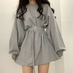 Muzly - Belted Mini A-Line Sweatshirt Dress
