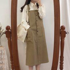 Leoom - 纯色长袖衬衫 / 钮扣A字背带中裙
