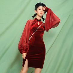Ebbie - Sheer Long-Sleeve Velvet Qipao