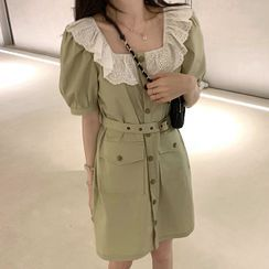 Guemac - Lace Trim Short-Sleeve Mini Shift Dress