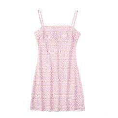 JIN STUDIOS - Spaghetti Strap Floral Print A-Line Dress
