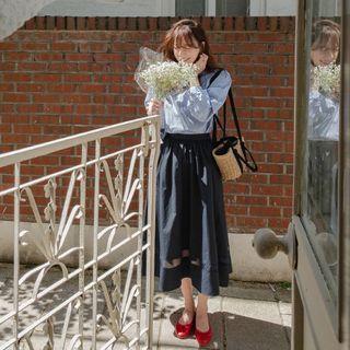 LEELIN - Transparent-Trim Long Full Skirt