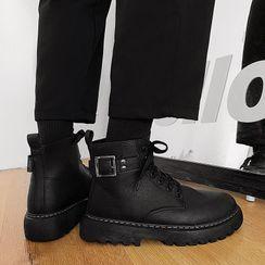 YERGO - 饰扣厚底系带短靴
