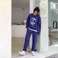 Envy Look - Set: Mickey Mouse Print Sweatshirt + Pocket-Trim Jogger Pants