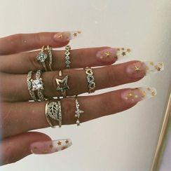Yeoleum - Set of 8: Rhinestone Alloy Ring (assorted designs)