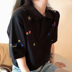Juku Girls - Embroidered Short-Sleeve Polo Shirt