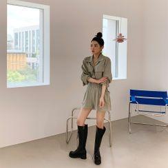 PPGIRL - Band-Waist Linen Blend Shorts