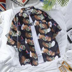 YAVER - Short-Sleeve Leaf Print Shirt