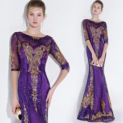 Sennyo - Sequined Elbow-Sleeve Mermaid Evening Gown