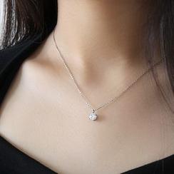 Phoenoa - Collar con colgante de llave y pedrería en plata de ley