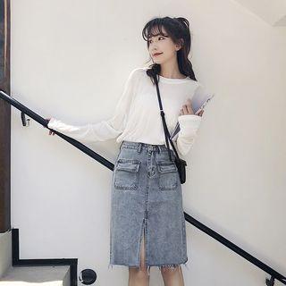 Maple Breeze - Slit Denim Skirt