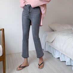 Envy Look - Fray-Hem Semi Boot-Cut Jeans