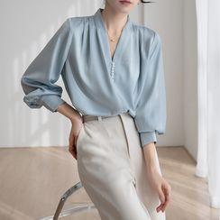 Maliske - V領純色襯衫