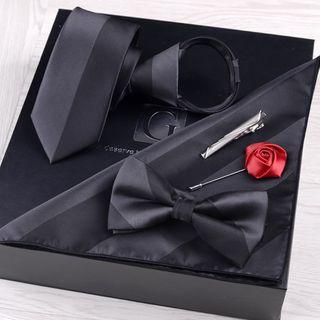 Prodigy - 禮物套裝: 領帶 + 蝴蝶結領帶 + 口袋巾 + 衣領飾針 + 領帶夾