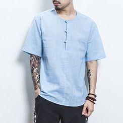 Kieran - Elbow-Sleeve Frog Buttoned Linen Shirt