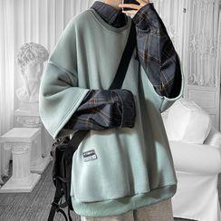 Priam - 假两件格纹卫衣