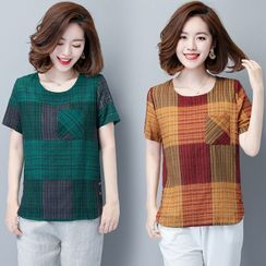 Ebbie - Short-Sleeve Plaid T-Shirt