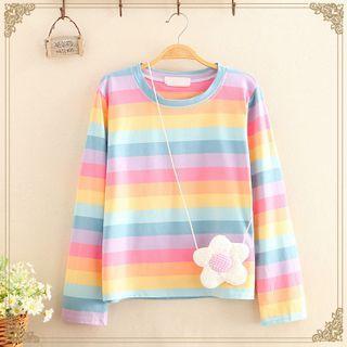 Kawaii Fairyland - 彩虹-条纹长袖上衣连斜挎包