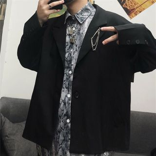 Blackcola - 纯色单扣西装外套