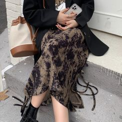 Luna Rouge - Tie-Dye Corduroy Midi A-Line Skirt