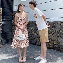 Azure - Couple Matching Flower Print Spaghetti Strap Midi A-Line Dress / Short-Sleeve T-Shirt / Shorts
