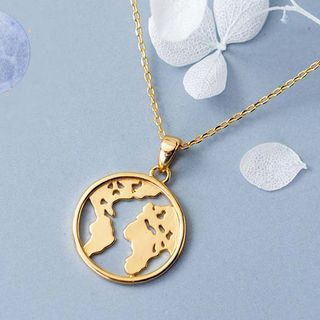 A'ROCH - 925 Sterling Silver World Map Pendant Necklace