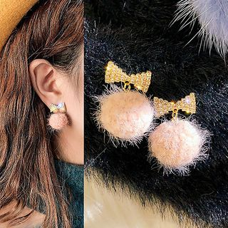 Catalunya - Rhinestone Bow Bobble Dangle Earring