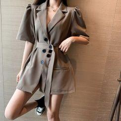Lushii - Elbow-Sleeve Mini Coat Dress