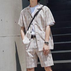 Wescosso(ウェスコッソ) - Set : Plaid Short-Sleeve Shirt + Shorts
