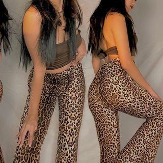 High-Waist Leopard Print Boot-Cut Pants