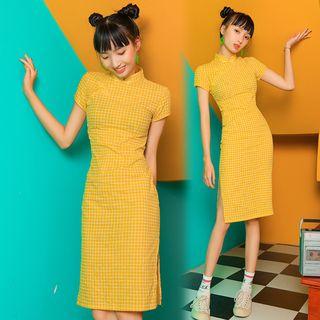 Fancy Show - Short-Sleeve Plaid Qipao