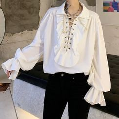 VEAZ - Lace-Up Ruffled Flared-Cuff Shirt