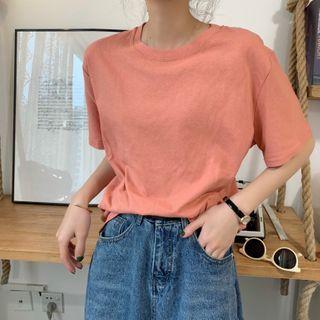 Closette - Short-Sleeve Round Neck Plain T-Shirt
