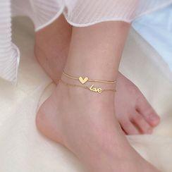 Utsukushi - 钛钢双层爱心脚链