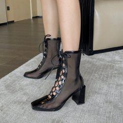 Anjay - Mesh Block-Heel Lace Up Short Boots