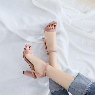 錦洋鞋業 - 仿麂皮高跟涼鞋